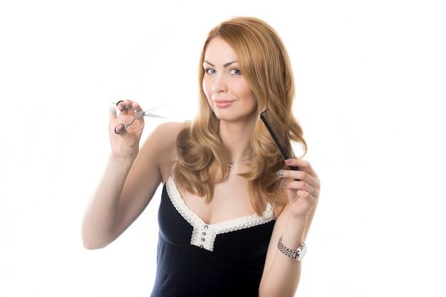 Frau mit einer schere