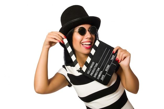 Frau mit filmscharnierventil auf weiß