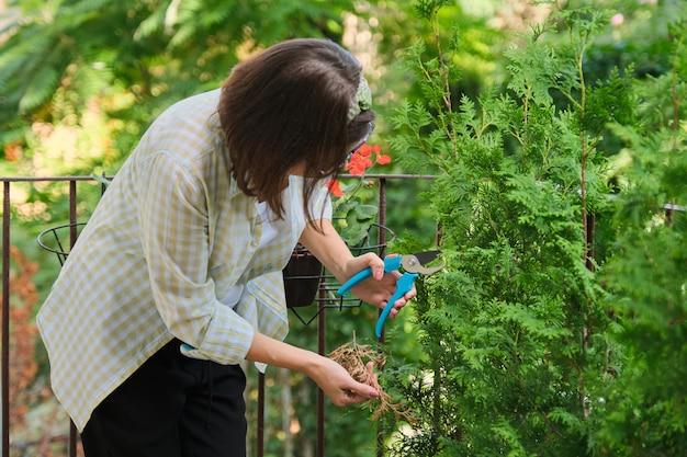 Frau mit gartenschere, die für einen immergrünen jungen busch der thuja-pflanze sorgt