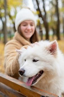 Frau mit ihrem hund im herbst in einem park. frau streichelt es lächelnd auf der bank.