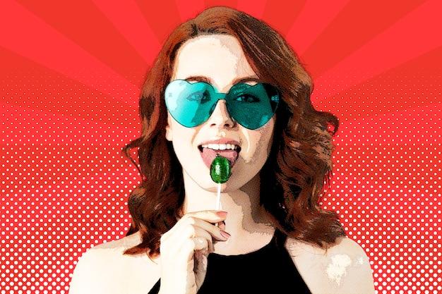 Frau mit lutscher im pop-art-stil