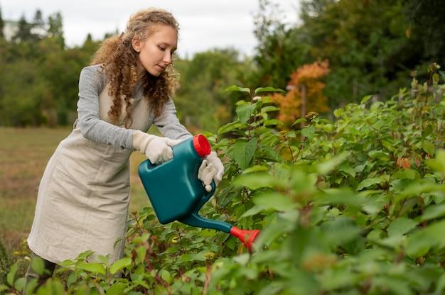 Frau mit mittlerer aufnahme, die vegetation wässert