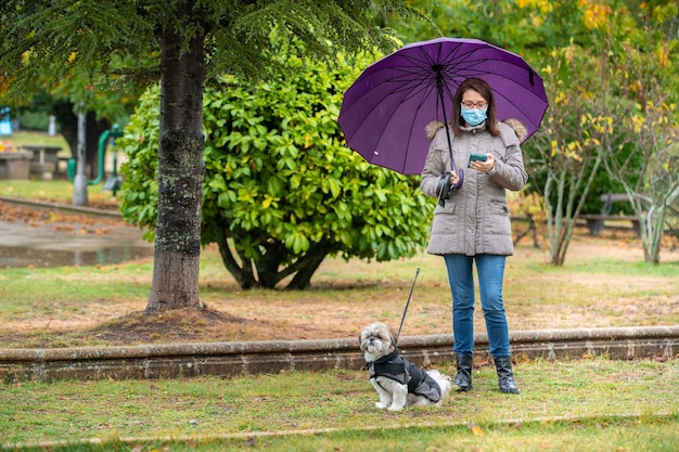 Frau mit regenschirm, der im park mit ihrem hund in den regengehrungen geht, die das telefon betrachten