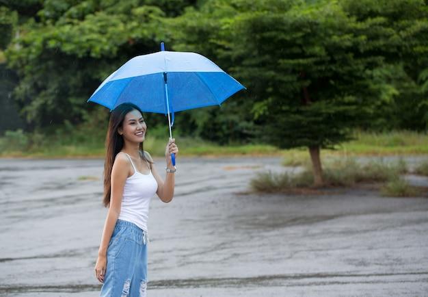 Frau mit regenschirm im regen