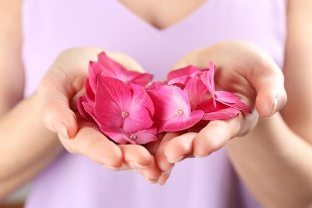 Frau mit rosa blüten von hortensien