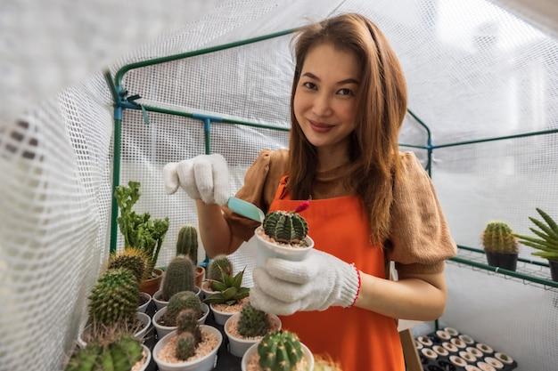 Frau mit schürze, die sich im hausgarten entspannt, arbeitet im mini-gewächshaus, indem sie steinflocken in eine kleine kaktusschote gibt und auf die kamera schaut.