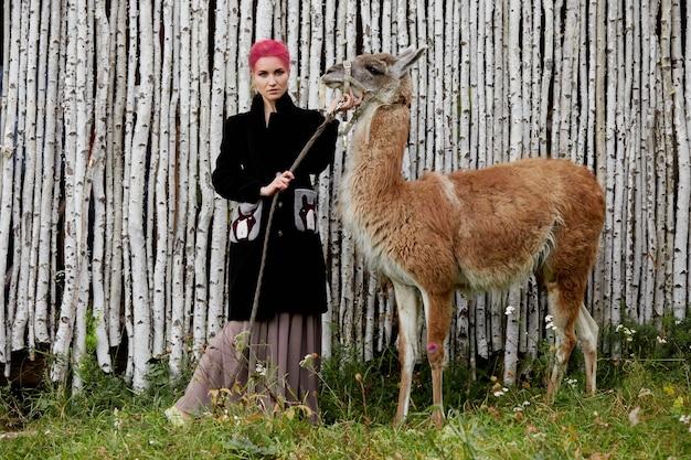 Frau nahe lama im herbst auf dem hintergrund der birken. kreatives hellrosa make-up auf dem mädchengesicht, haarfärbung