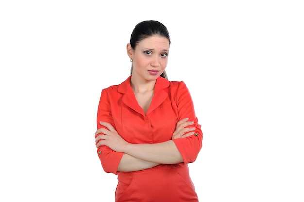 Frau schaut mit groll, verletzter blick, jetzt gießen tränen von großen schönen augen
