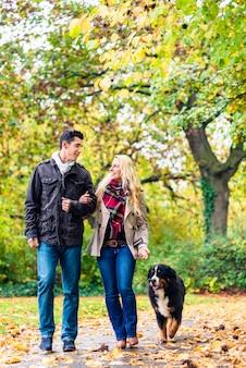 Frau und mann mit dem hund, der herbstweg hat