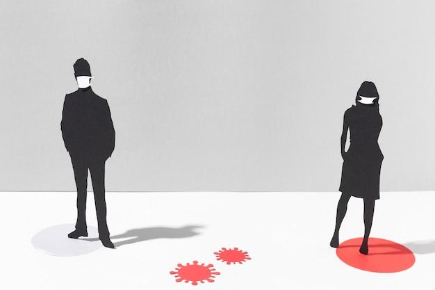 Frau und mann mit medizinischen masken zum schutz vor coronaviren Kostenlose Fotos