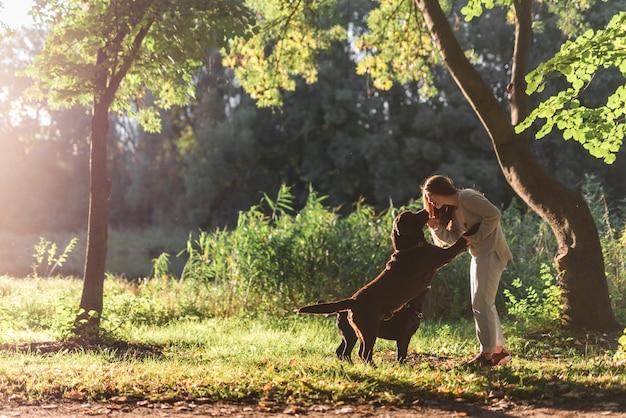 Frau und zwei hunde, die im park spielen