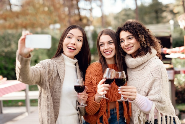 Frauen machen selfies während eines picknicks mit freunden.