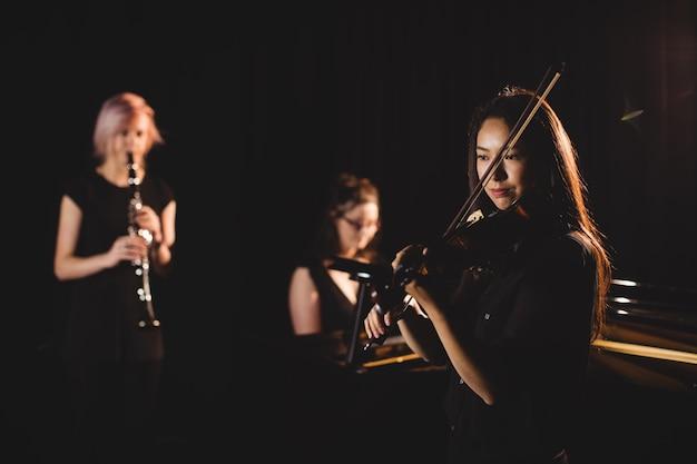 Frauen spielen verschiedene instrumente