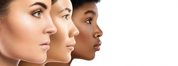 Frauen unterschiedlicher ethnischer zugehörigkeit - kaukasier, afrikaner, asiaten.