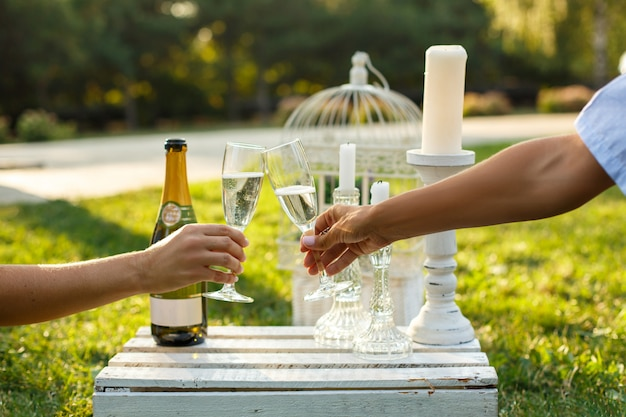 Frauenbeifallgläser mit champagner auf sonnigem grünem park.