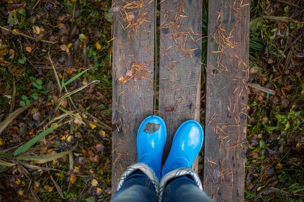 Frauenbeine in den blauen gummistiefeln gegen hölzerne planken auf herbstlaubhintergrund