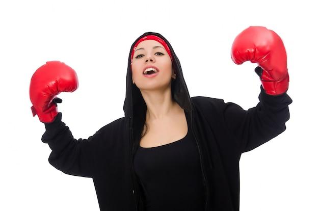 Frauenboxer lokalisiert auf dem weiß