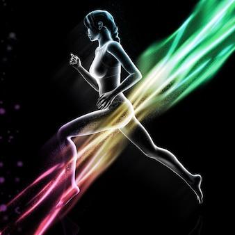 Frauenfigur 3d, die mit bunten lichtwellen läuft
