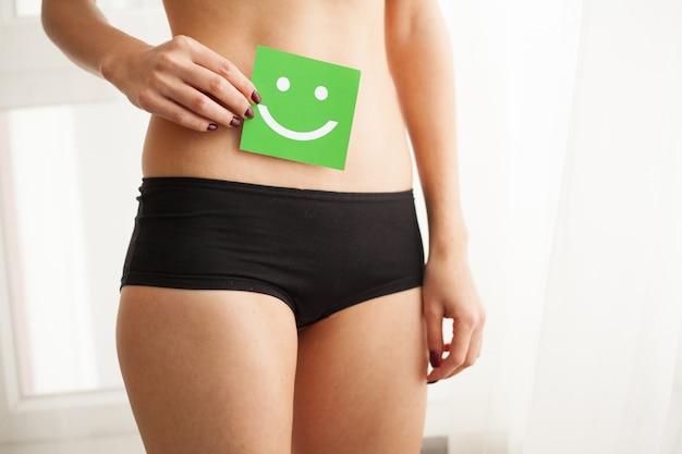 Frauengesundheit. schöner weiblicher körper im schlüpfer mit lächelnkarte