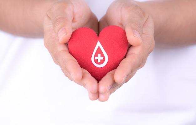 Frauenhände, die rotes herz mit papierzeichen auf rotem herzen für blutspendenkonzept halten.