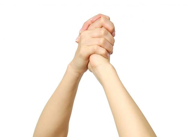 Frauenhände feiern isoliert