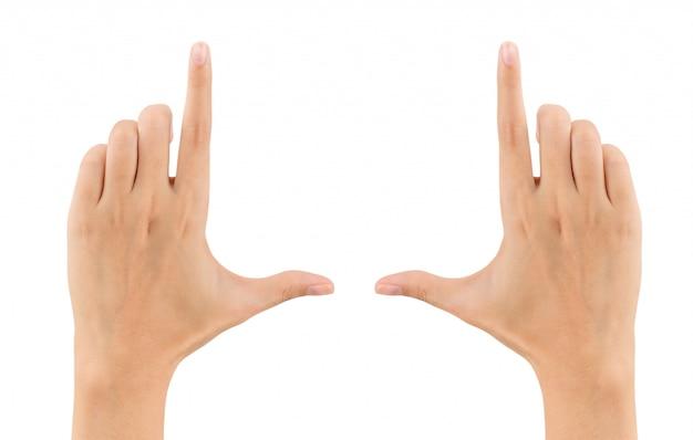 Frauenhände, welche die zusammensetzung lokalisiert auf weiß gestalten