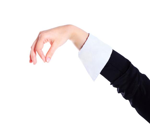 Frauenhand auf weißem hintergrund