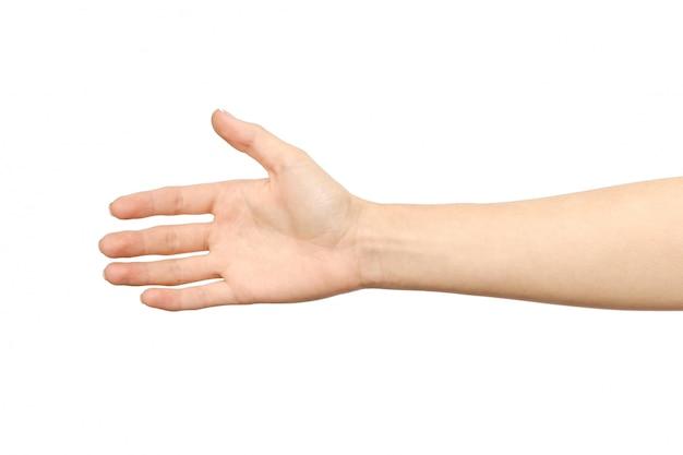 Frauenhand, die bereit ist, einen deal zu machen