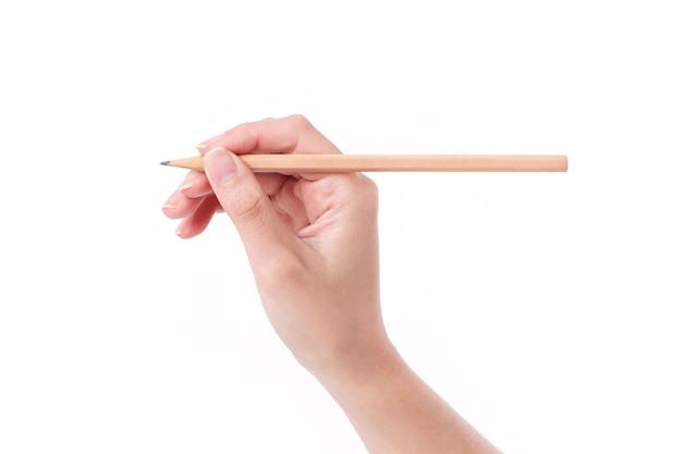 Frauenhand, die bleistift hält