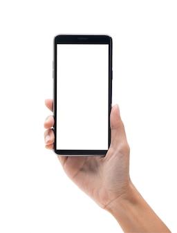 Frauenhand, die den schwarzen smartphone mit dem leeren bildschirm lokalisiert auf weißem hintergrund hält
