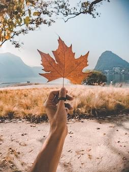 Frauenhand, die ein getrocknetes ahornblatt in einem grasfeld mit schönen bergen hält