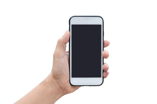 Frauenhand, die ein weißes smartphone, lokalisiert auf weiß hält.