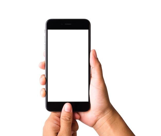 Frauenhand, die leeren weißen bildschirm des modell-smartphones hält