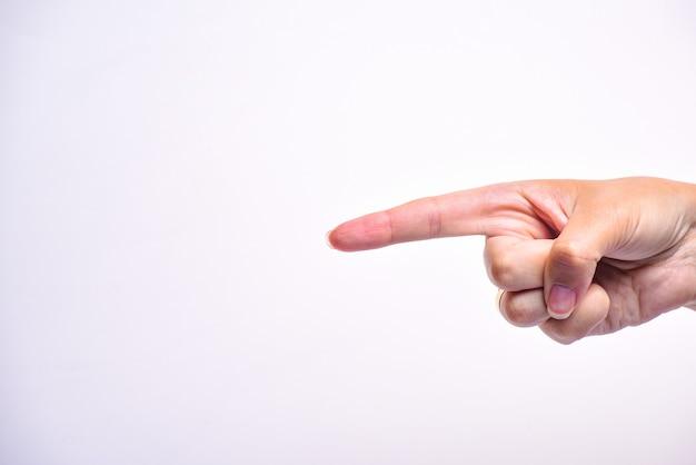 Frauenhand, die seine hand zeigt