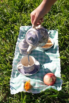 Frauenhand, die tee im landhausstil-picknickfrühstück bei sonnenaufgang dient