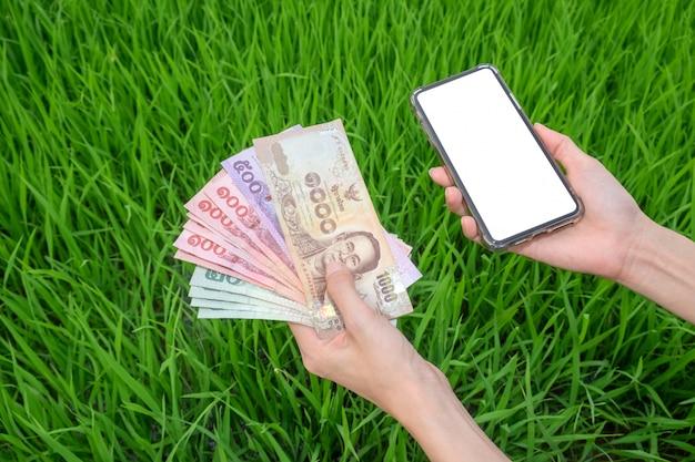 Frauenhand, die thailändische banknoten und den leeren bildschirm des smartphones mit grüner reiswallatfarm hält