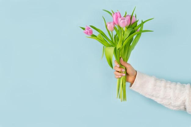Frauenhand, die tulpenstrauß auf blauem hintergrund hält. frühlingskonzept.