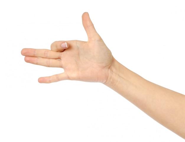 Frauenhand, die wie hundekopf gestikuliert