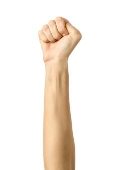 Frauenhand gestikuliert lokalisiert auf weiß