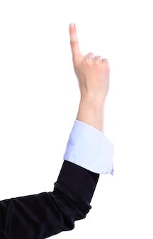Frauenhand lokalisiert auf weißer wand