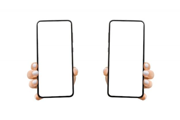 Frauenhand zeigt mobiles smartphone mit weißem bildschirm in vertikaler position. mock up mobile.