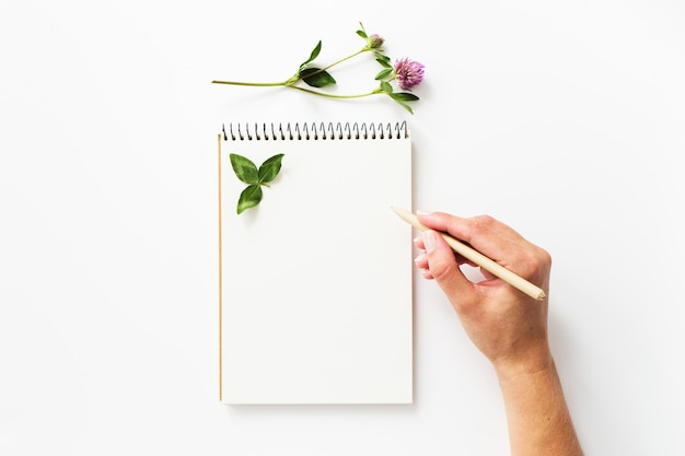 Frauenhandschrift auf einem leeren notizbuch
