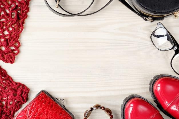 Frauenherbstherbstsatzsammlung flacher ansichtkopierraum
