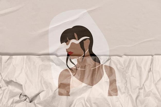 Frauenillustration mit zerknitterten papierstrukturremixed-medien