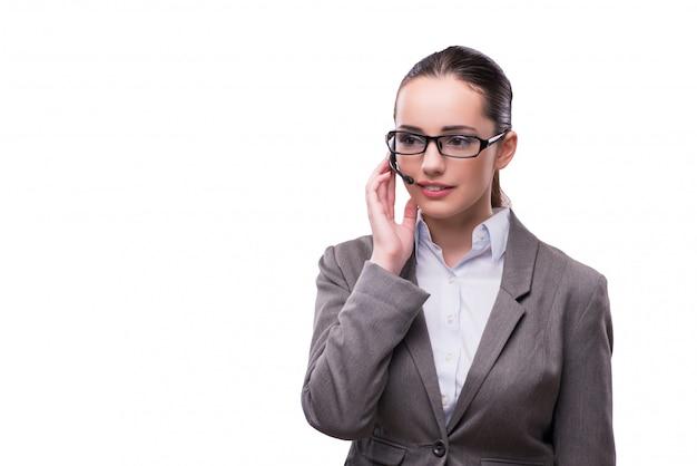 Fraueninformationsschalterbetreiber lokalisiert auf weiß