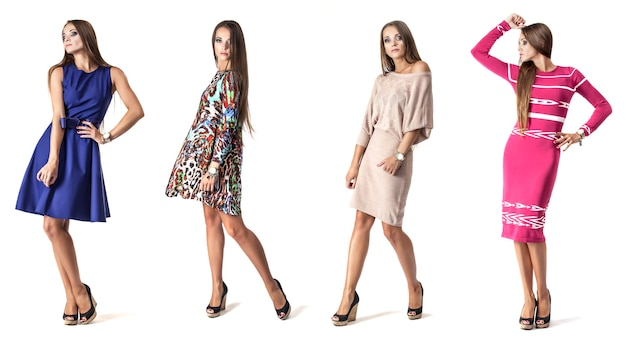 Frauenmodell im kurzen kleid in voller länge im studio an der weißen wand in verschiedenen posen