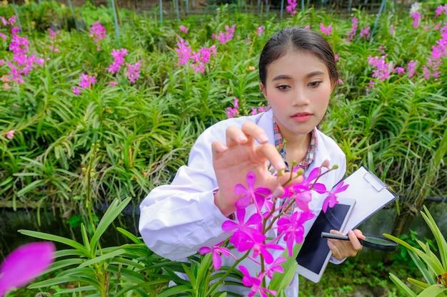 Frauenorchideenforscher erforschen und dokumentieren die eigenschaften von orchideen im garten