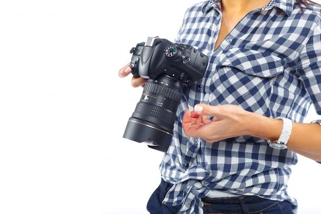 Frauenphotograph bei der arbeit