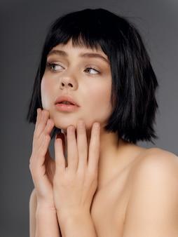 Frauenporträt schwarze perücke, schönheitsporträt
