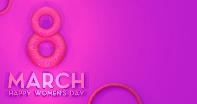 Frauentag banner hintergrund. 3d-rendering.